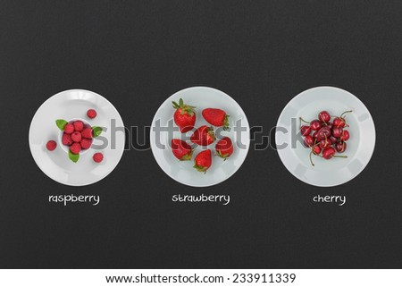 Summer Fruit Concept with Plates of Fresh Raspberries, Strawberries and Cherries on a Chalkboard. - stock photo