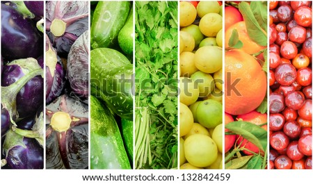 Summer Fruits and Vegetable Rainbow - stock photo