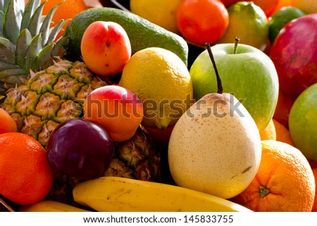 Summer fruits - assortment of fresh fruits, healthy summer concept