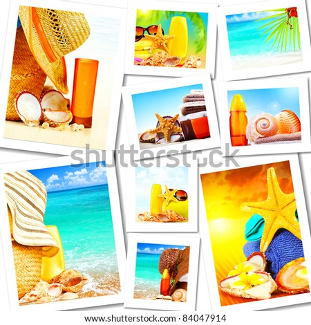 Summer fun concept collage, sunny colorful abstract background with many travel and tourism images - stock photo