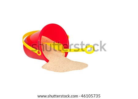 Summer Fun! Red Bucket, Yellow Shovel, and Sand Isolated on White. - stock photo