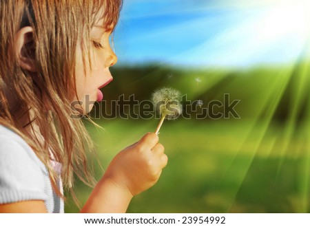 Summer fun, sweet little girl blowing dandelion on the meadow - stock photo