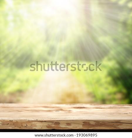 summer garden and desk  - stock photo