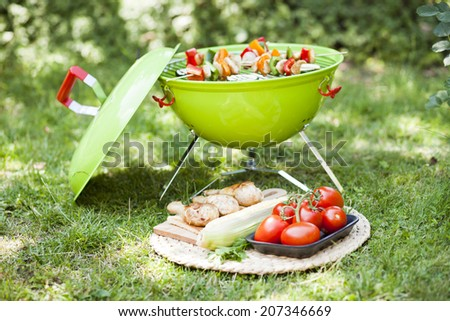 summer garden party with grilled food  - stock photo