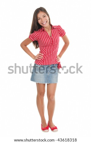 Summer girl in full length in red isolated on white background. Beautiful mixed race chinese / caucasian model. - stock photo