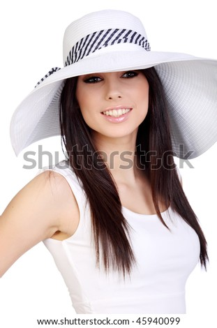 Summer girl in white cap