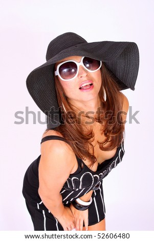 Summer girl with elegant hat