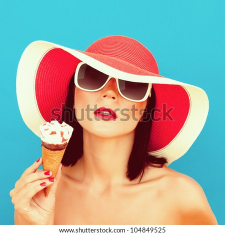 Summer Girl with ice cream - stock photo