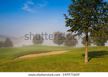 Summer golf course in the morning mist - stock photo