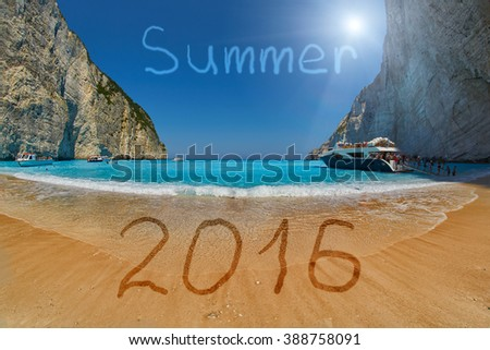 Summer 2016 Greece Zakynthos Concept with Pirate's Bay Sandy Beach Background - stock photo