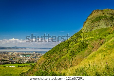 Summer green hills in Scotland - stock photo