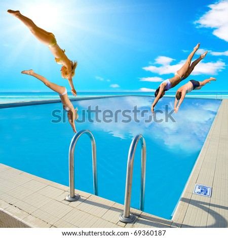 Summer Group Diving - stock photo