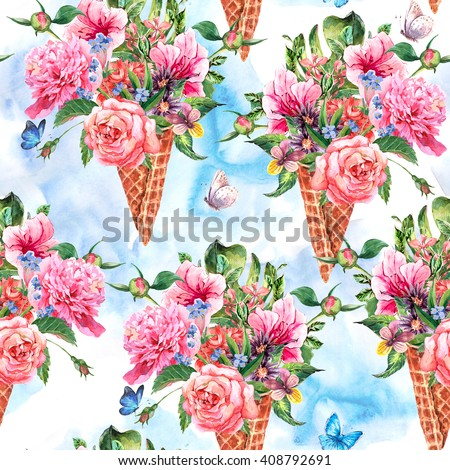 Summer hand drawing watercolor floral seamless pattern with blooming flowers peonies, roses, daisies, flower buds, violet,  butterfly in waffle cone, decoration flowers natural illustration - stock photo