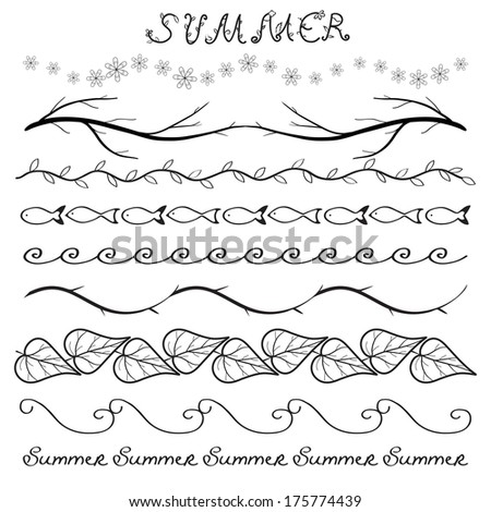 Summer hand drawn border set isolated on white. Raster version. - stock photo