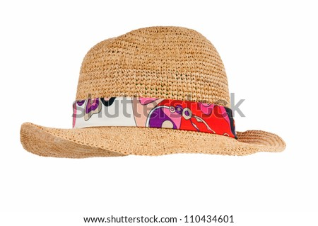 Summer hat isolated on the white background - stock photo