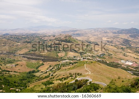 summer highland landscape in sicily - stock photo