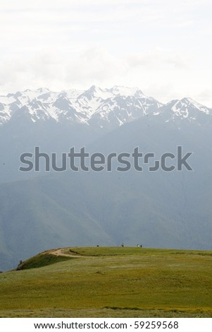 Summer hiking view from high peak. - stock photo