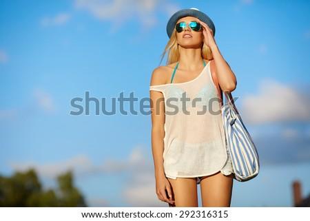 Summer hipster girl - stock photo