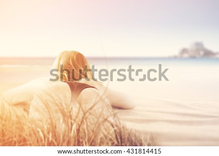 summer hipster photo of free space and woman and bikini and summer time
