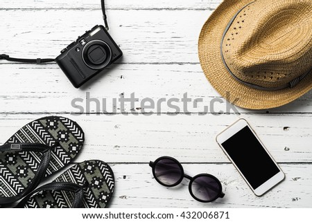 Summer holiday background, Beach accessories on table, Vacation and travel items - stock photo