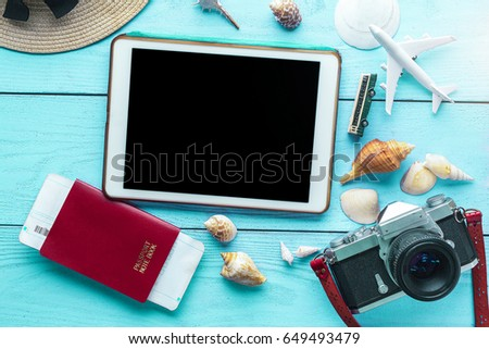 summer wooden table summer holiday background travel concept tablet stock photo