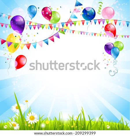 Summer holiday background with balloons. Place for text. Raster version. - stock photo