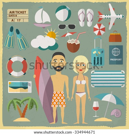 Summer holiday character design with summer objects. Man and woman in a swimsuit.  Raster version - stock photo