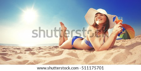 Summer holiday, girl traveling, relax on the beach on a background of water. Fun summer party in the trip. Woman on vacation