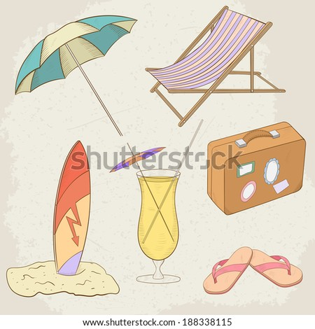 Summer Holiday Hand Drawn Icons. Raster version - stock photo