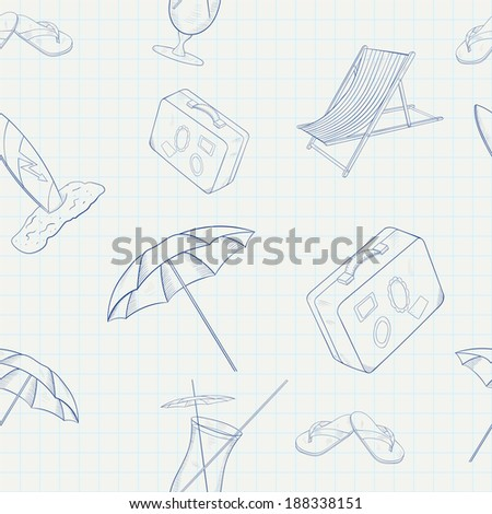 Summer Holiday Hand Drawn Seamless Pattern. Raster version - stock photo