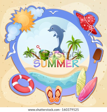 Summer holiday illustration with dolphin