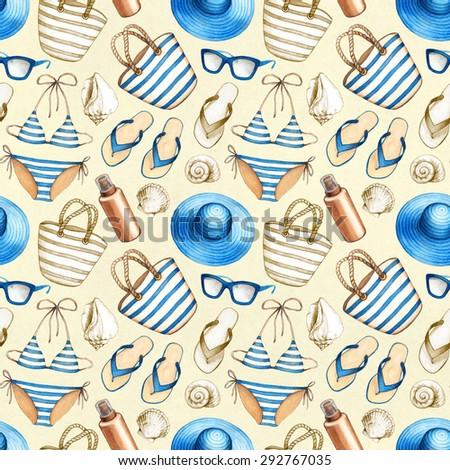 Summer holiday pattern - stock photo