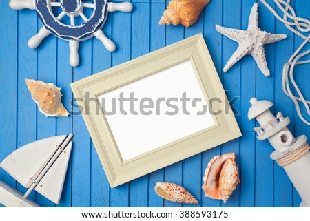 Summer holiday poster frame mock up template. View from above. Flat lay - stock photo