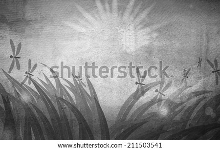 Summer holiday. Spring grass in sun light and blue sky on grunge paper texture background. - stock photo