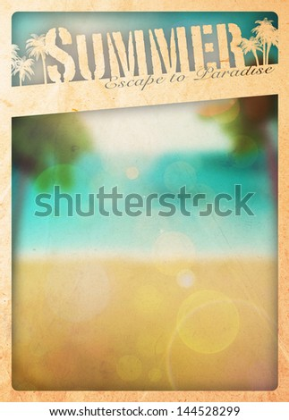 Summer holiday, travel or party poster background with space - stock photo