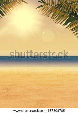 Summer holiday, travel, party advert poster or flyer background with empty space - stock photo