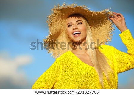 Summer holidays and vacation concept, girl standing on the sky background - stock photo