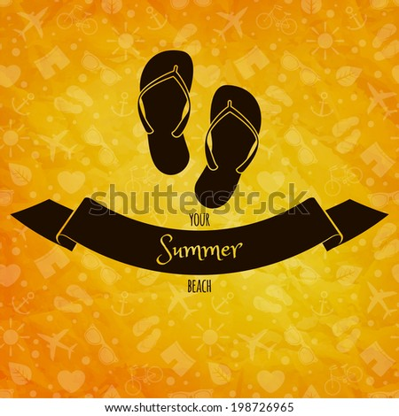 Summer holidays concept. Flip flops on sunny background. Retro label. Greeting card - stock photo