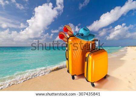Summer holidays with baggages on the tropical beach - stock photo