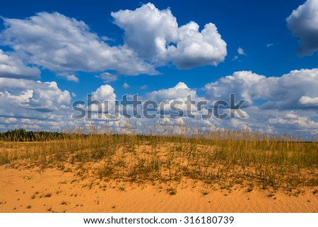 summer hot sandy desert - stock photo