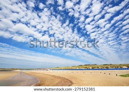 Summer houses at the beach of Vlissingen, the Netherlands - stock photo