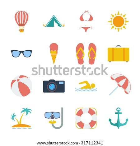 Summer icons set. Flat related icon set for web and mobile applications. It can be used as - logo, pictogram, icon, infographic element. Illustration.