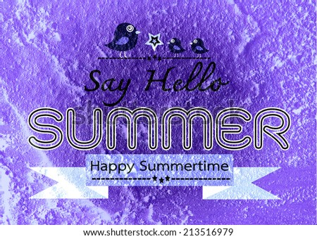 Summer idea design card on Cement wall  Background texture