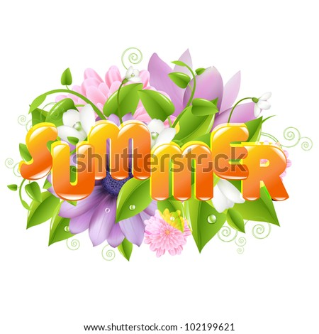 Summer illustration With Flower And Leaf, Isolated On White Background
