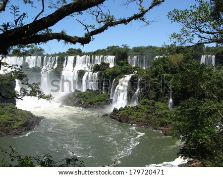Summer in Iguazu Falls on the Brazil/Argentina border in South America - stock photo