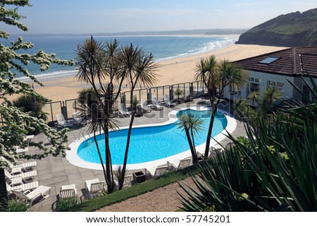Summer in the beachside town of St Ives in Cornwall, England - stock photo