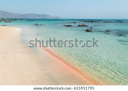 Summer in the beautiful Elafonissi Beach in Crete, on the Lybian Sea, famous for the red sand and the clear water, Greece