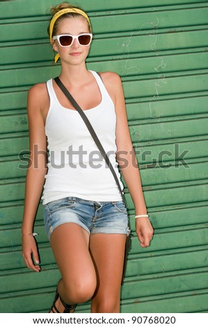 Summer in the city - fashion urban girl - stock photo