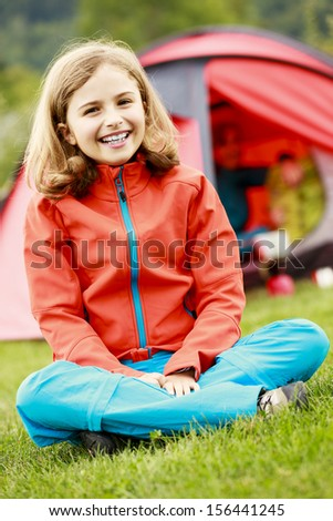 Summer in the tent - family on the camping - stock photo