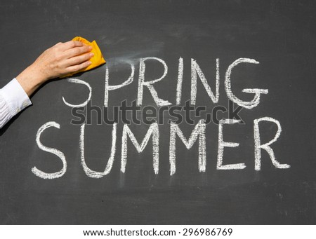 Summer is coming concept - inscription Spring and Summer on a school blackboard, with the words Spring being erased by the teacher. - stock photo